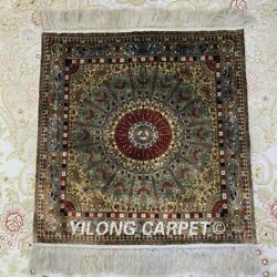 YILONG 1.5'x1.5' 800 Lines Handmade Silk Tapestry Square High Density Rug Y022H