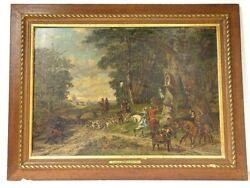 Large Hst Painting M.kuytenbrouwer Scene Chasse With Hounds Forest 1888 Xixandegrave