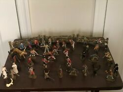 41 Vintage Wild West And War Time Hand Painted Plastic Miniature Figurines