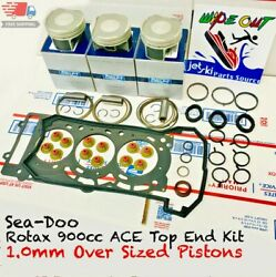 Sea-doo Rotax 900cc Top End Rebuild Kit - 1mm Over Size Pistons Spark 90hp 60hp