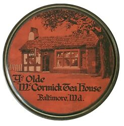 Antique Advertising Olde Mccormick Tea House Baltimore Maryland Tin Can Cookie