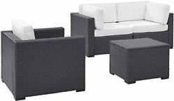 Crosley Biscayne 3 Person Outdoor Wicker Seating Set In White - Two Corner Ch...