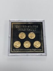 American Gold Eagle 5 Coin Set • United States Gold Vault • 1/10 Oz 5 Gs