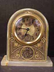 Antique French Brevete Onyx Niello Damascene Alarm Clock Sailboat Dragon Figure