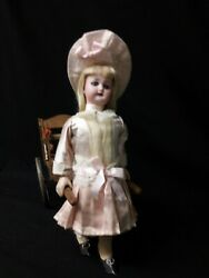 Antique Wind-up Toy Simon And Halbig Doll Pulling A Cart