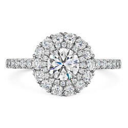 Round Cut 1.00 Carat Real Diamond Engagement Platinum Rings For Women Size M N O