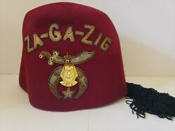 Antique Early Shriners Za-ga-zig Fez Hat With Gold Bullion Lettering Size 7 1/2