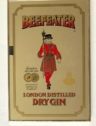 Vintage Beefeater London England Distilled Dry Gin Mirrored Wall Sign 12x18