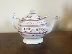 Antique Early 19th C. Staffordshire Pearlware Pink Luster Tea Pot Regency Lustre