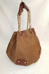 BURBERRY Prorsum Brown Leather Drawstring Bucket Handbag Chain Strap $174.99