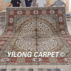 YILONG 10'x14' Handknotted Silk Area Rug Home Decor Oriental Carpets ZW003M