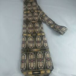 Lot Of 2 Metropolitan Museum Of Art Men's Ties Geometric Squares Stained Glass