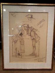 """Norman Rockwell Pencil Sketch of """"The Milkmaid"""" Very Rare - Apr Value: $400K*"""