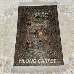 YILONG 2'x3' 600Lines Handmade Silk Tapestry Family Room Carpet Home Rug MC003H