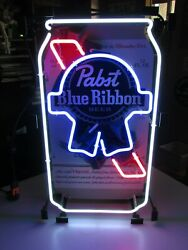 No Shipping Authentic New Pabst Blue Ribbon Pbr Can Neon Beer Bar Sign Light
