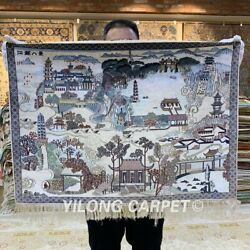 YILONG 2'x1.5' 800Lines Handmade Silk Tapestry Classic Scenery Carpet MC013H
