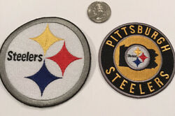 """2-pittsburgh Steelers Embroidered Iron On Patches 3"""" Round And 4"""" Round Awesome"""