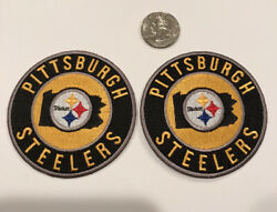 """2-pittsburgh Steelers Embroidered Iron On Patches 3"""" Round Awesome"""