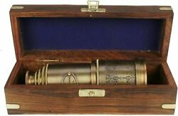BRASS ANTIQUE VINTAGE 20quot;VICTORIAN MARINE TELESCOPE WITH WOODEN BOX SPYGLASS