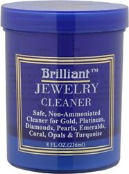 Brilliant 8oz Safe Jewelry Cleaner w Cleaning Basket amp; Brush – Gold Platinum