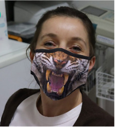 Tiger Face Mask Gift For Dad Printed in US Double Layered Washable Fits All Size $21.61