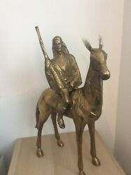 20th Century Antique Native American On Horse Bronze Brass Statue   Two Piece