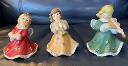Goebel Christmas Angel Bell Ornaments 3 Holding Musical Instruments