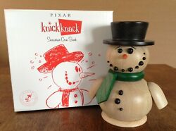 Pixar Knick Knack Wooden Snowman Coin Bank Made In Germany Rare