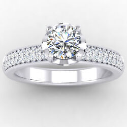 0.76 Carat Real Diamond Engagement Bridal Ring 14k Solid White Gold Size 5 6 7 8