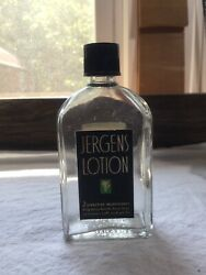 """Vintage Jergens Lotion Glass Bottle With Label 4 1/2"""" Tall"""