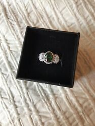 Fragrant Jewels faux Emerald with Swarovski accent crystals Ring Size 5 $12.00