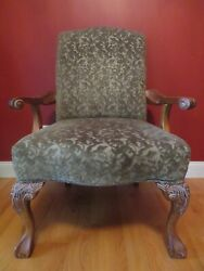 Arm Chair Vintage Hand Carved Solid Mahogany Green Fabric Seat Height 20