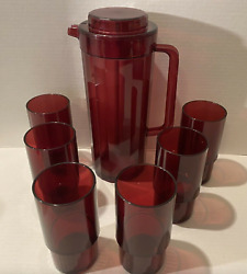 Tupperware Preludio Pitcher 6 X 14oz Deluxe Mugs W/ Handles Ruby Red Brand New