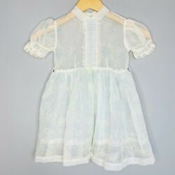 Vintage 1950's Marcia Dee Blue Flocked Lace Floral Puff Sleeve Girls Dress $39.99
