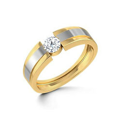 0.50 Ct Real Diamond Menand039s Rings 14k Double Tone Yellow Gold Mens Bands All Size