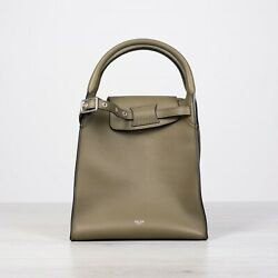 Celine 2950 Small Big Bag With Long Strap In Smooth Army Green Calfskin