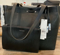 Calvin Klein Women's Reversible Tote Large Bag Black with Pouch $88.59