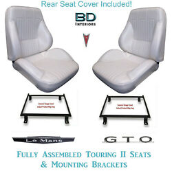 1968 Lemans And Gto Coupe Touring Ii Bucket Seats With Brackets And Rear Cover