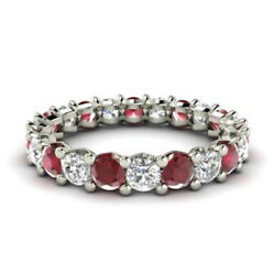 2.03 Carat Real Diamond Ruby Bridal Bands 14k Solid White Gold Ring Size 5 6 7 8
