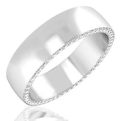 0.68 Ct Certified Diamond Mens Wedding Ring 14k White Gold Bands Size 10 11 12.5