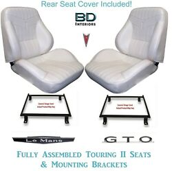 1969 Lemans And Gto Convertible Touring Ii Bucket Seats Brackets And Rear Cover