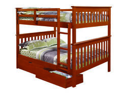 Full/full Mission Bunk Bed With Dual Underbed Drawers Light Espresso Finish