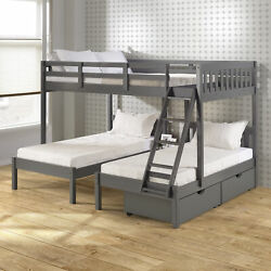 Full Over Double Twin Bed Loft Bunk In Dark Grey Finish W/dual Under Bed Drawers