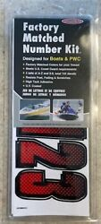 3 1/2 Inch Red / Black Shaded Boat Letters And Numbersstickersnumber Kit
