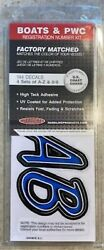 3 Inch Blue / Black Cursive Boat Letters And Numbersstickersnumber Kit