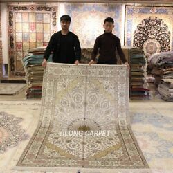 Yilong 5and039x8and039 Living Room Handmade Silk Area Rug Easy To Clean Carpet 060b