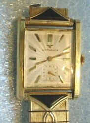 Menand039s Wittnauer Heavy 14k Yellow Gold Mechanical Wristwatch Runs