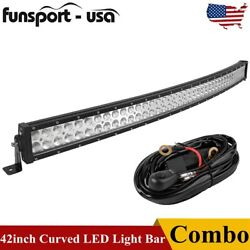 Curved 42inch Led Work Light Bar Spot Flood Combo Driving Lamp Off-road And Wiring