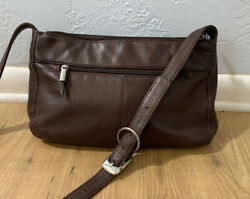Stone Mountain Brown Soft Pebbled Leather Crossbody Purse Adjustable Strap 12x8 $17.90