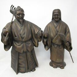 Toyo Japanese Bronze Statues Farmer amp; Wife Man Woman Vintage Figures